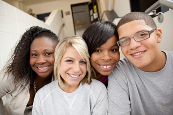 Four lovely NCC students: friends of diverse backgrounds