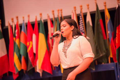 student singing at International Student Festival