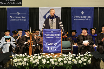 Dr. Bryon Grigsby, president of Moravian College, giving the commencement address.