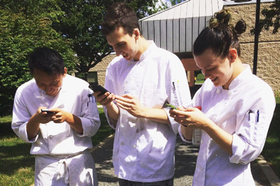 NCC culinary students playing Pokemon Go