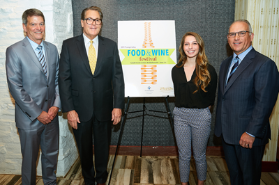 NCC President Dr. Mark Erickson, Sands Bethlehem CEO Mark Juliano, NCC student Brittany Magaro, and Mike Molewski, CEO of MFP LLC., and co-chair of the Food & Wine Festival Committee