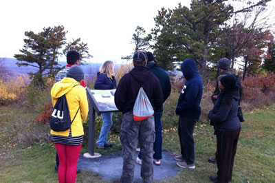 NCC Science Club members discuss and observe the plant species that make up the barrens community of Big Pocono.