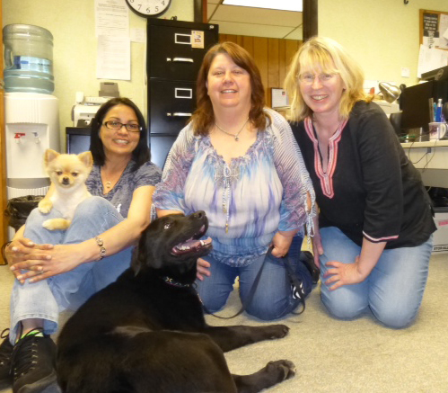 Pictured here (left to right) Michelle Cotto and best friend Shellie, Tina Frindt, Karen Layton, and Toby (a month after being rescued).