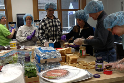 Students from Northampton Community College prepare a meal for guests at the Trinity Ark Soup Kitchen in Easton.