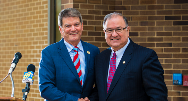 NCC President Dr. Mark Erickson (right) with Mayor Sal Panto