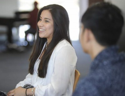 Diana Nicolle Leon Mangallanes, whose family is originally from Ecuador, talks about her experience at Northampton Community College in Tannersville. (Keith R. Stevenson/Pocono Record)