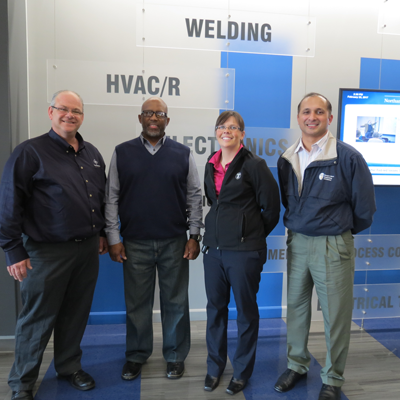 Dino Forst, NCC welding program manager; Eric Smith, Kelly Fischer and David Kingston of Newport News Shipbuilding