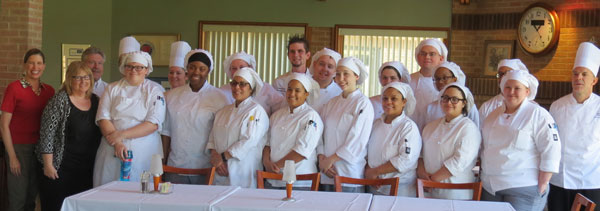 Culinary students and judges at the April 20 competition