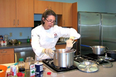 A cooking demo by Second Harvest