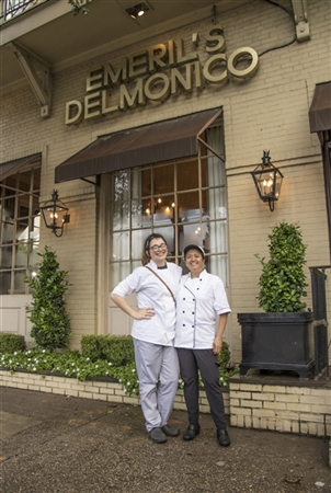 Hannah Georgis and Gina Pearson outside of Emeril's Delmonico