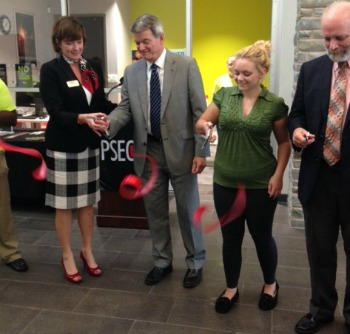 Cutting the ribbon at Monroe's PSECU office