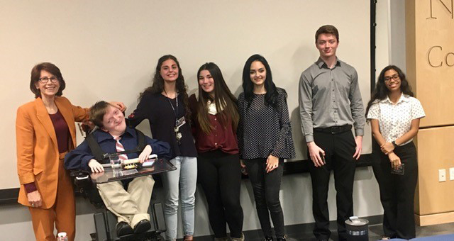 Speech contest finalists:  Left to Right: MC Donna Acerra, Tyler French, Maria Bartolucci, Victoria Rosenthal, Hailey Williams, Matthew Taggert, Paxton Svanda